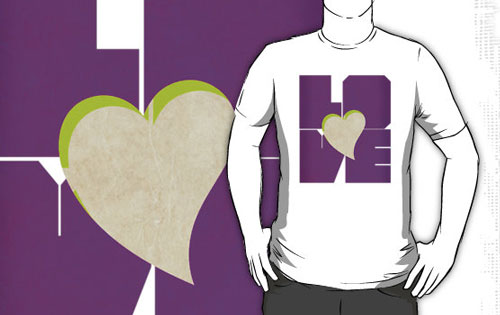 Love With Heart In Purple Type