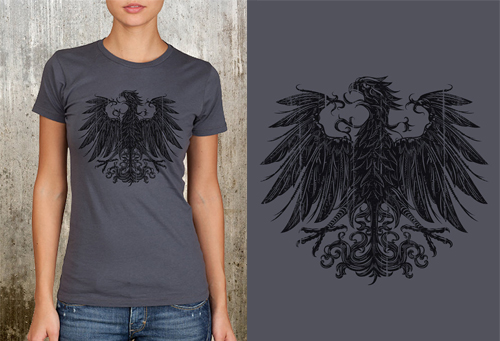 Coat of Arms Black Bird with Grunge Texture