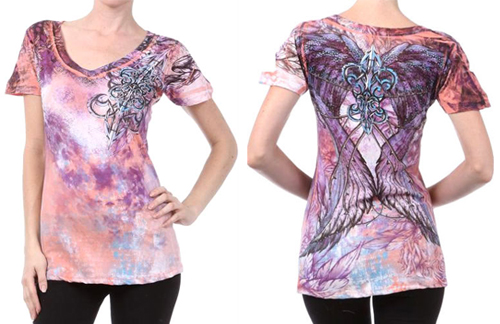 Tie Dye Pink Crystal Fleur De Lis Angel Wings